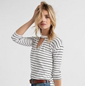 Lucky Brand White Striped Choker Tee Shirt